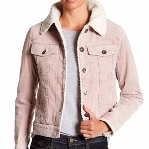 Blush Faux Shearling Lined Corduroy Jacket Button-